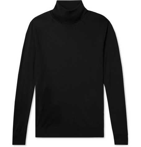 Canali | Canali - Merino Wool Rollneck Sweater - Black | Clouty