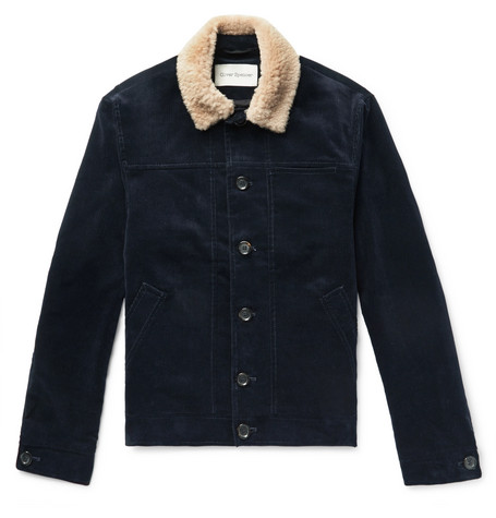 Oliver Spencer | Oliver Spencer - Shearling-trimmed Cotton-corduroy Jacket - Navy | Clouty