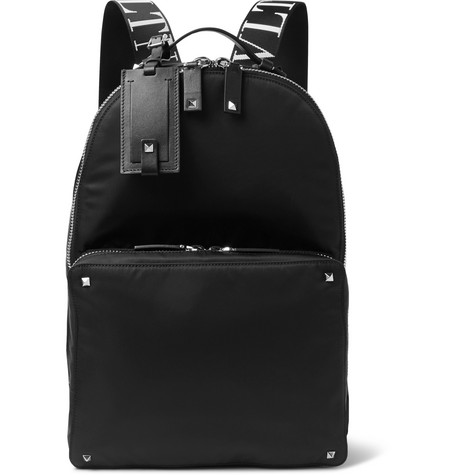 VALENTINO | Valentino - Valentino Garavani Logo-jacquard Webbing And Leather-trimmed Nylon Backpack - Black | Clouty