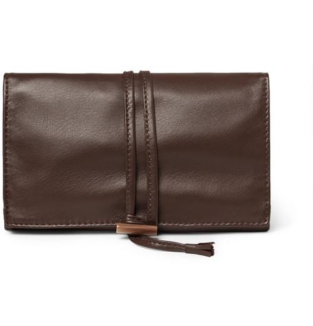 Lorenzi Milano | Lorenzi Milano - Leather Jewellery Roll - Brown | Clouty