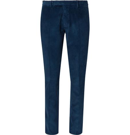 Boglioli | Boglioli - Navy Slim-fit Cotton-corduroy Suit Trousers - Blue | Clouty