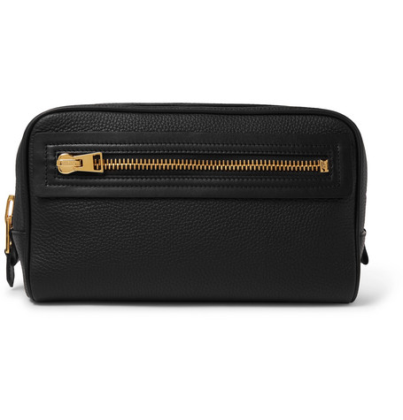 Tom Ford | TOM FORD - Full-grain Leather Wash Bag - Black | Clouty
