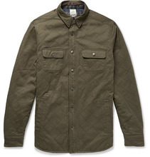 Faherty - Reversible Quilted Cotton-twill And Brushed Cotton-jacquard Overshirt - Army green