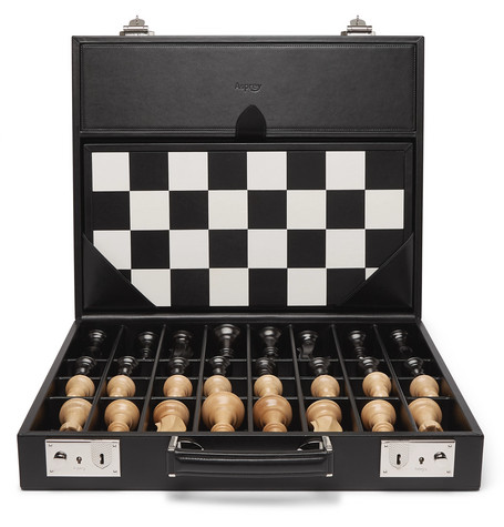 Asprey | Asprey - Hanover Leather Chess Case - Black | Clouty