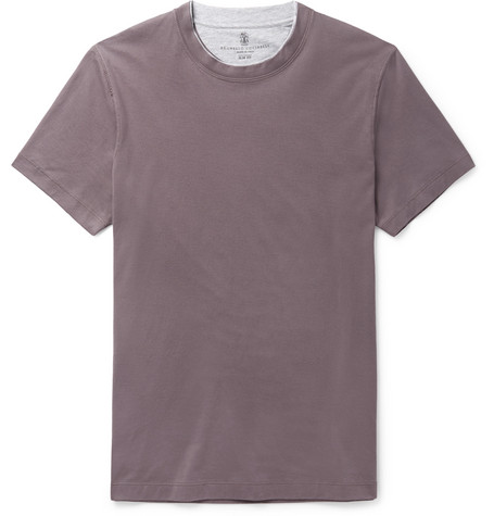 Brunello Cucinelli | Brunello Cucinelli - Slim-fit Layered Cotton-jersey T-shirt - Lilac | Clouty