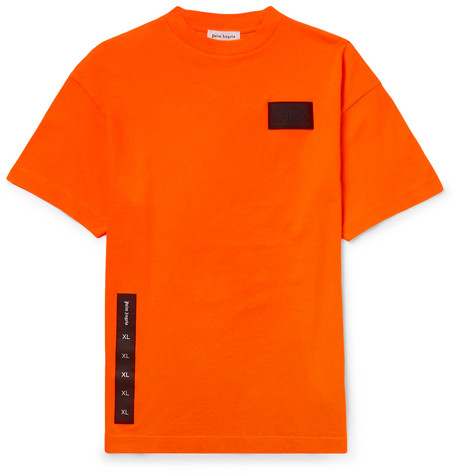 Palm Angels | Palm Angels - Appliqued Cotton-jersey T-shirt - Orange | Clouty