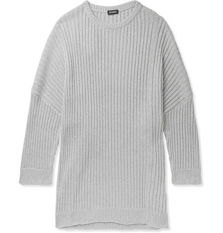Raf Simons | Raf Simons - Oversized Cutout Metallic Knitted Sweater - Gray | Clouty