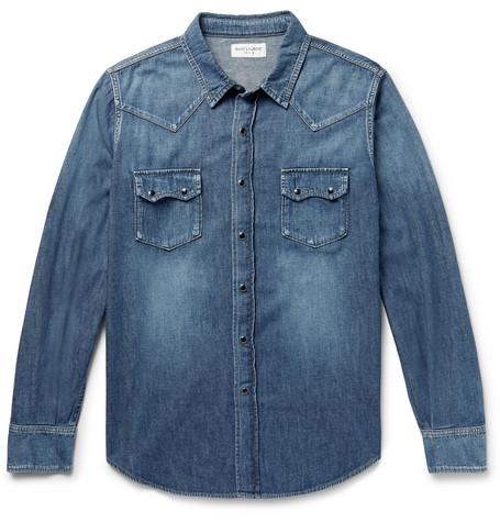 SAINT LAURENT   Saint Laurent - Slim-fit Denim Western Shirt - Blue   Clouty