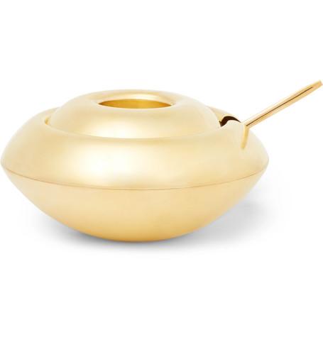 Tom Dixon | Tom Dixon - Form Brass Sugar Bowl And Spoon Set - Gold | Clouty