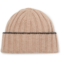 Фото Brunello Cucinelli - Contrast-tipped Ribbed Wool Beanie - Cream