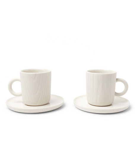 Toast Living   Toast Living - Mu Set Of Two Porcelain Espresso Cups And Saucers - White   Clouty
