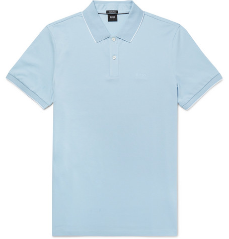 BOSS  | Parlay Slim-fit Contrast-tipped Pima Cotton-pique Polo Shirt | Clouty
