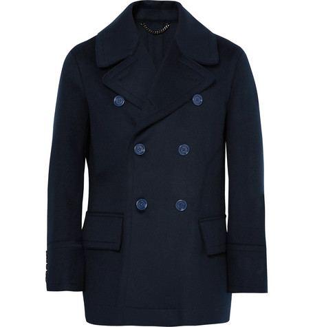 BURBERRY   Double-breasted Virgin Wool Peacoat   Clouty