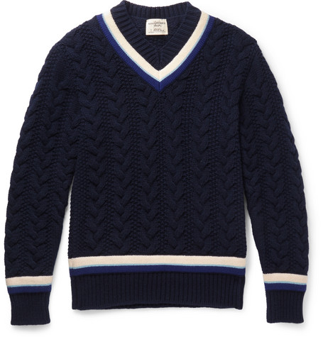 Kent & Curwen | Woodvale Cable-knit Wool Cricket Sweater | Clouty