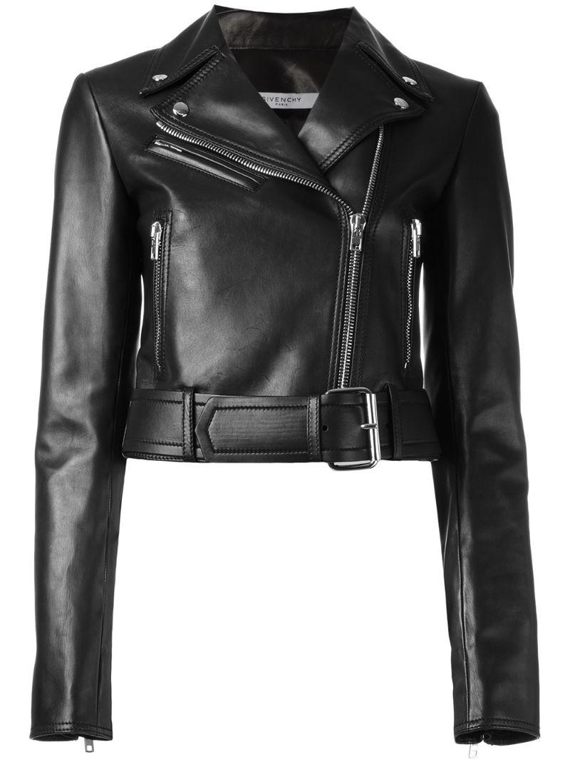 GIVENCHY   Чёрный укороченная байкерская куртка Givenchy   Clouty