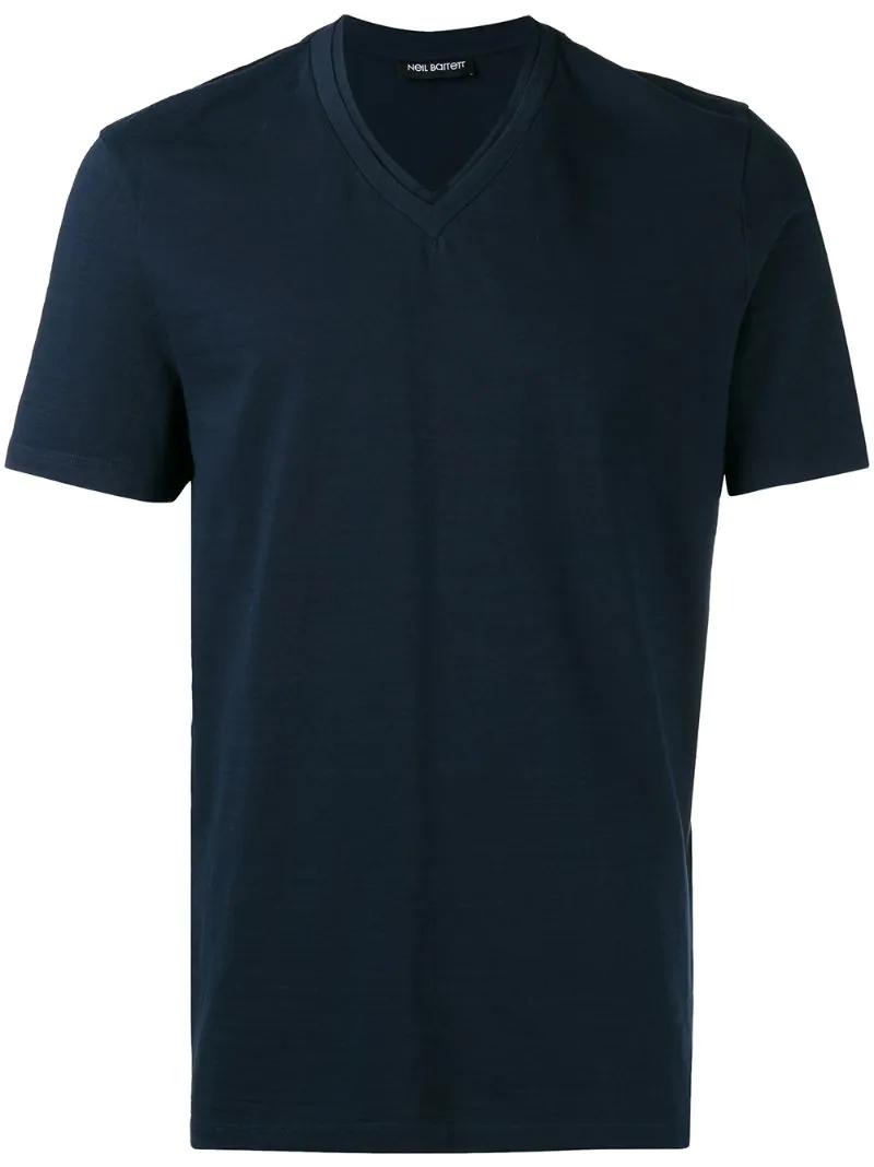 Neil Barrett | Синий футболка с V-образным вырезом Neil Barrett | Clouty