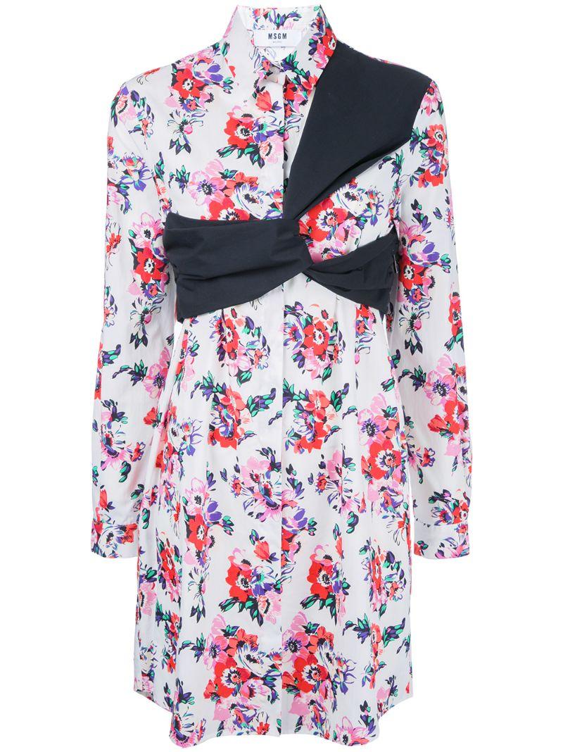 MSGM | Белый платье с цветочным принтом MSGM | Clouty