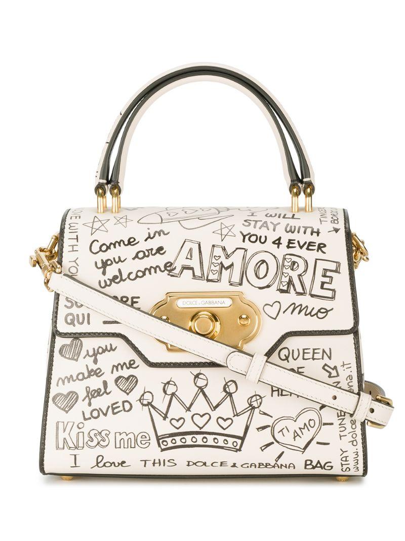 e3bf6bc541c1 Dolce & Gabbana | Белый сумка на плечо с надписями Dolce & Gabbana ...