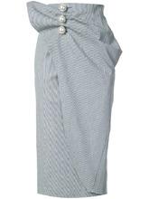 Фото юбка с запахом и пуговицами-жемчужинами Kimhekim