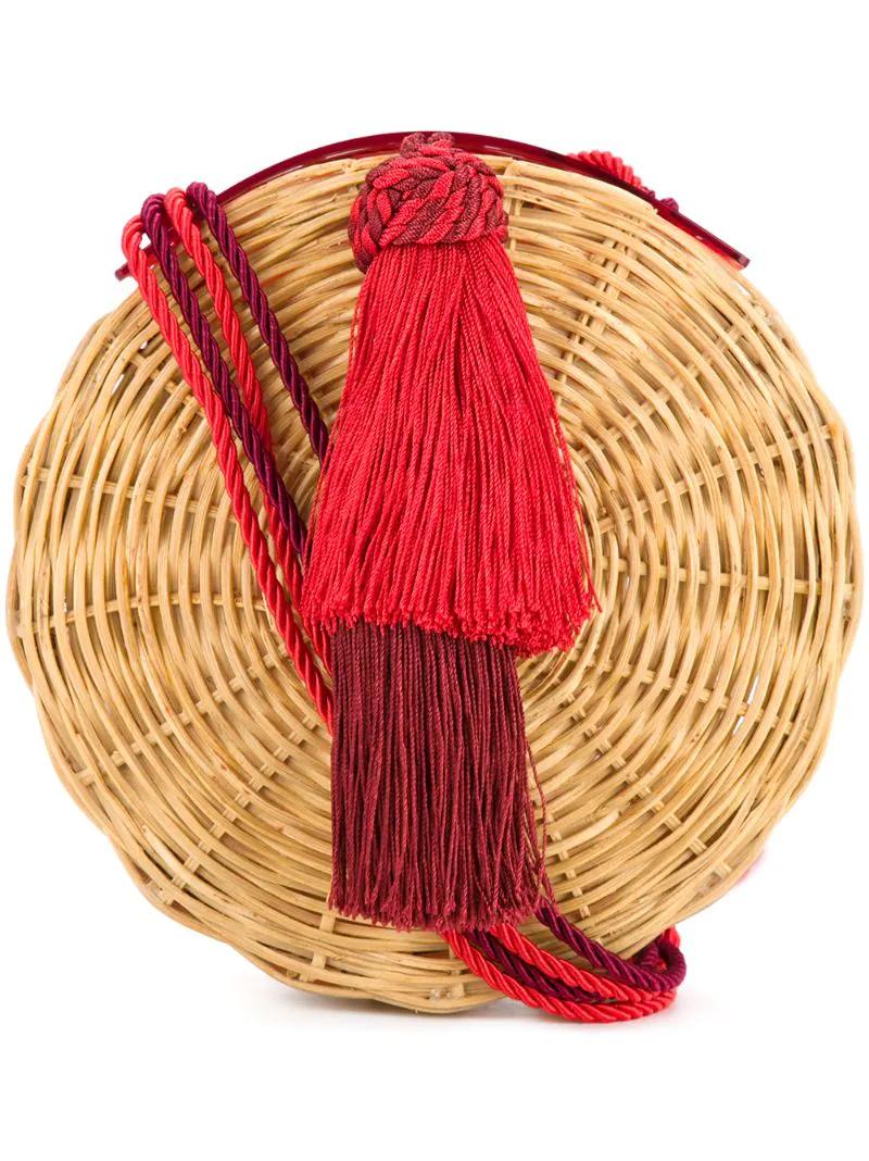 1e1568f41439 WaiWai | Коричневый круглая плетеная сумка с кисточкой Wai Wai | Clouty ...
