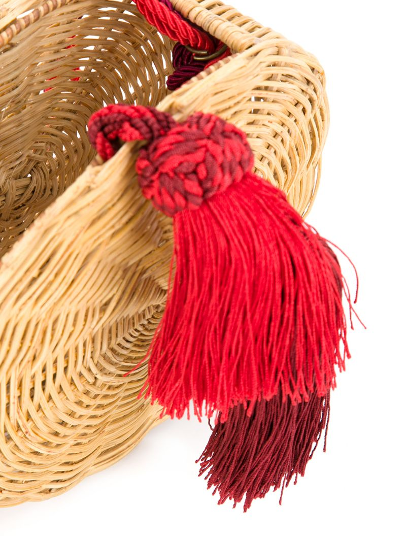 575b3124324e ... WaiWai | Коричневый круглая плетеная сумка с кисточкой Wai Wai | Clouty