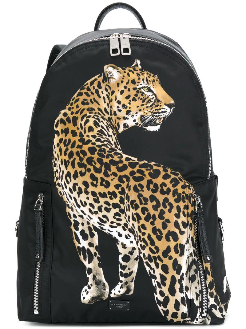 Dolce & Gabbana   Чёрный рюкзак с аппликацией в виде леопарда Dolce & Gabbana   Clouty