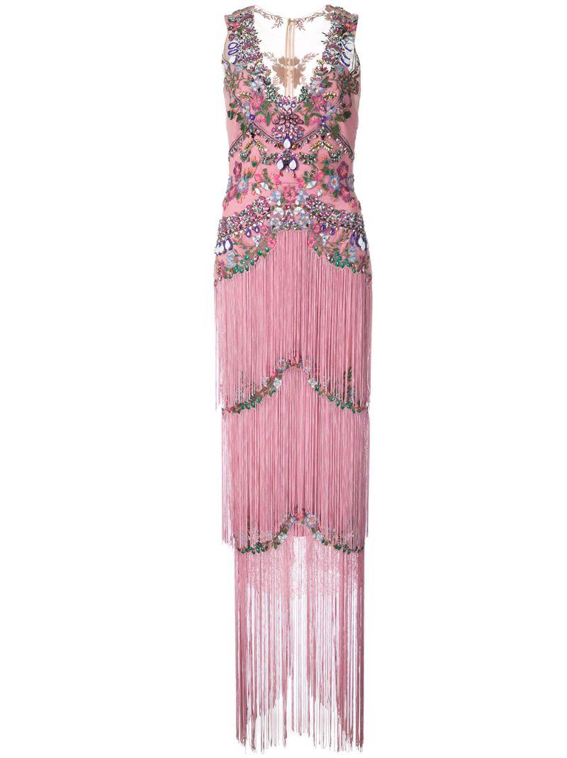 Marchesa Notte | вечернее платье с бахромой и отделкой бисером | Clouty