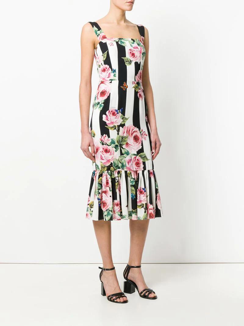 8b9b910e4b24e27 ... Dolce & Gabbana | Многоцветный платье в полоску с цветочным принтом  Dolce & Gabbana ...