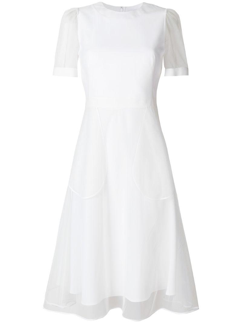 GIVENCHY | Белый расклешенное платье с отделкой из органзы  Givenchy | Clouty