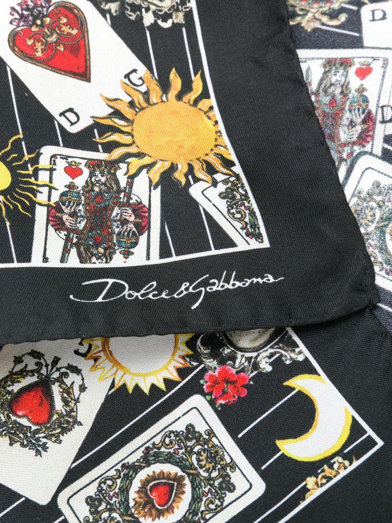 Dolce & Gabbana | Чёрный платок с принтом игральных карт Dolce & Gabbana | Clouty