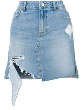 Фото джинсовая юбка с потертой отделкой SJYP