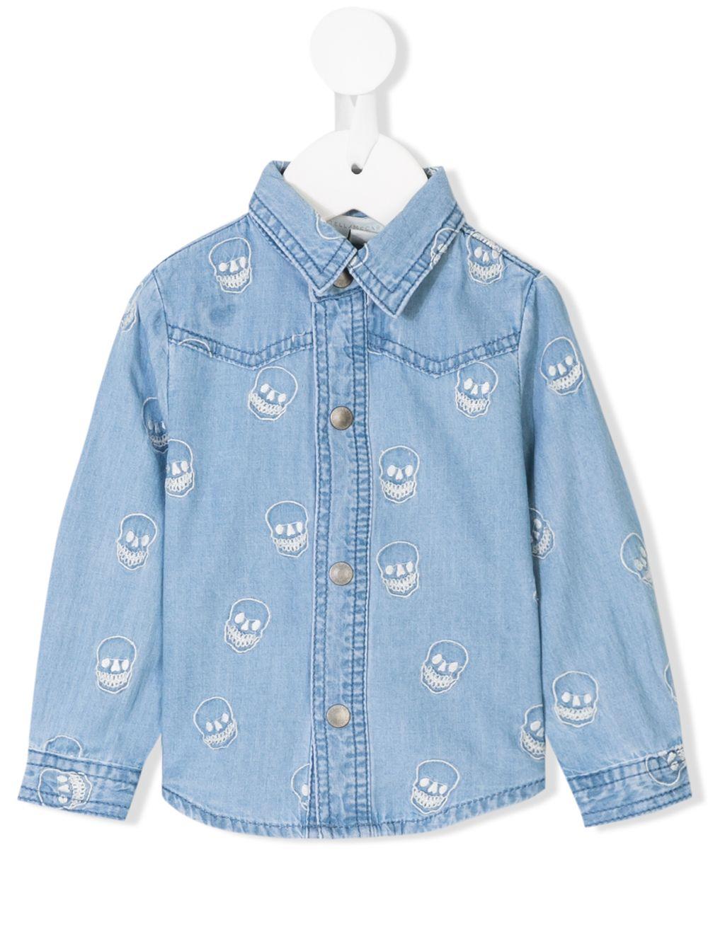 Stella McCartney Kids   джинсовая рубашка с вышитым черепом   Clouty