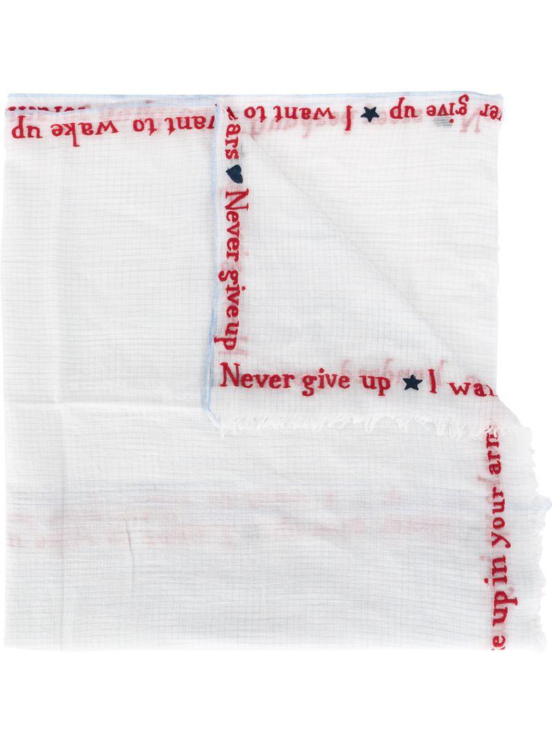 Faliero Sarti | шарф в мелкую клетку с вышитыми надписями | Clouty