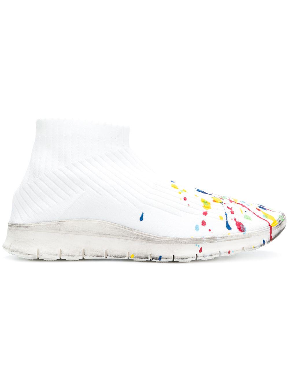 Maison Margiela   кроссовки с носком и эффектом брызг краски   Clouty