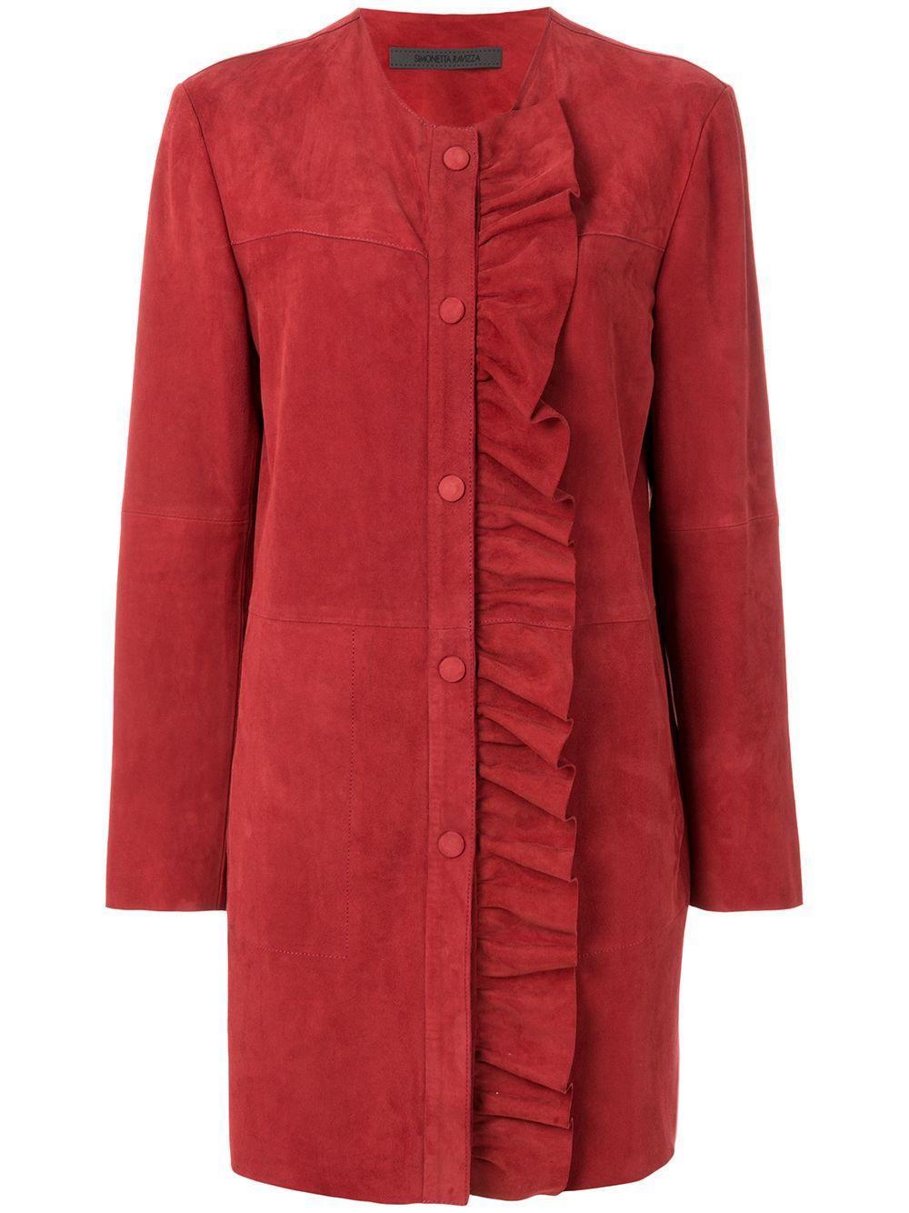 Simonetta Ravizza   пальто с вертикальной оборкой   Clouty