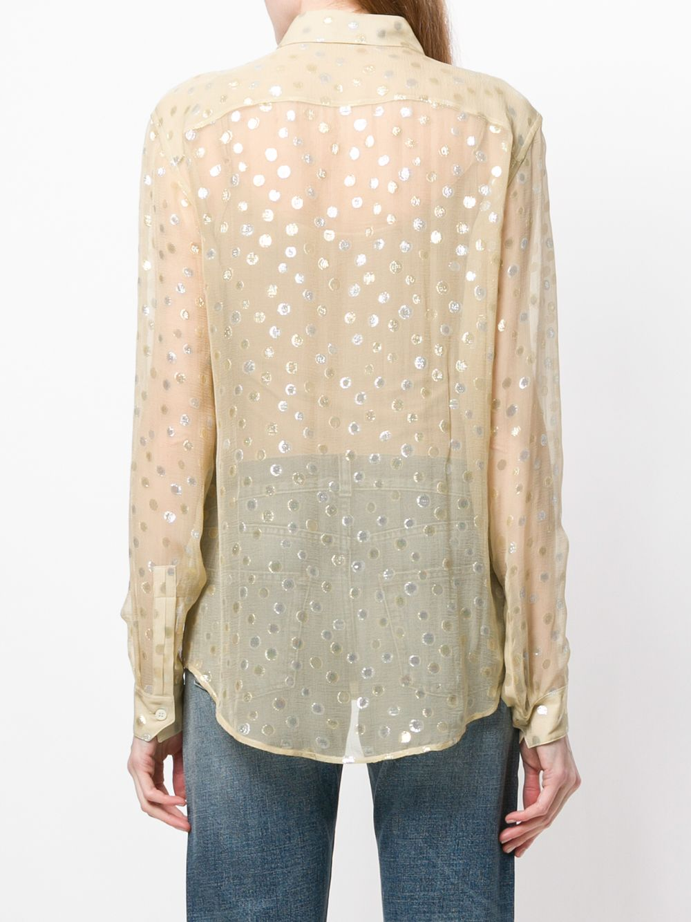 SAINT LAURENT | рубашка из жоржета с узором в горох | Clouty