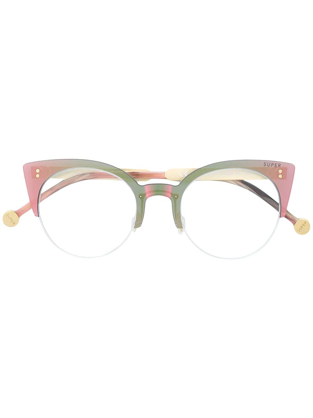 Retrosuperfuture | очки в полуоправе формы 'кошачий глаз' | Clouty