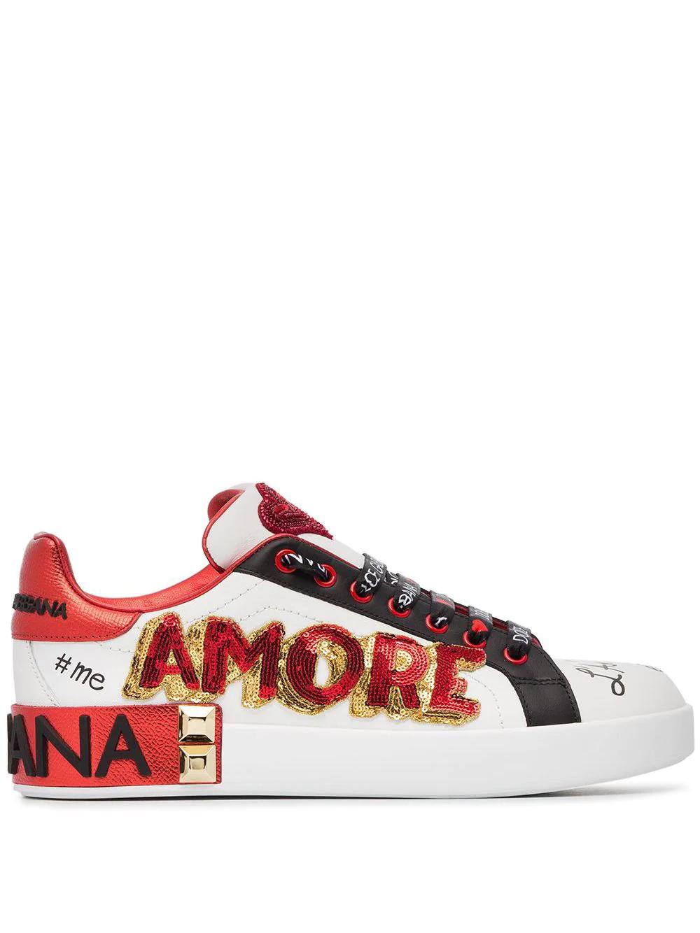 Dolce & Gabbana | кроссовки 'Amore Heart' с вышивкой | Clouty