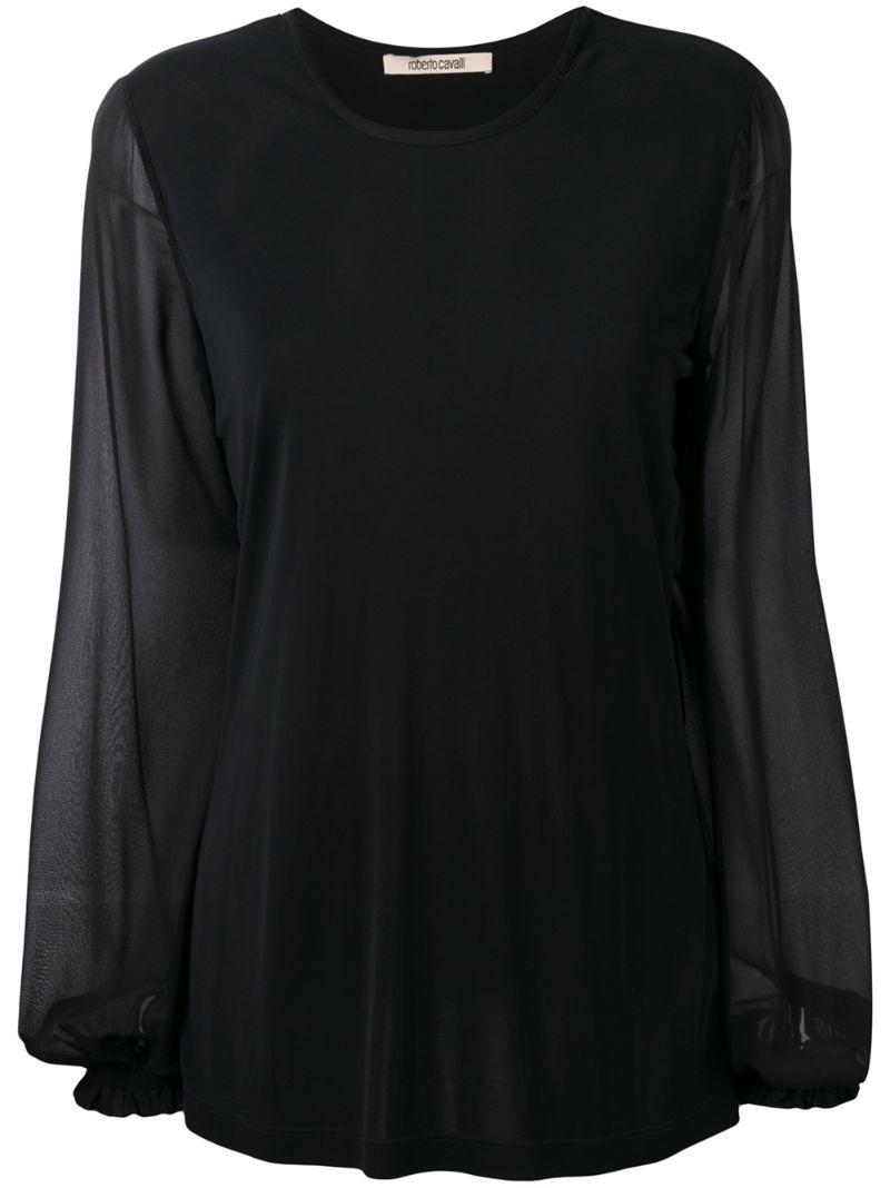 Roberto Cavalli | sheer sleeve blouse | Clouty