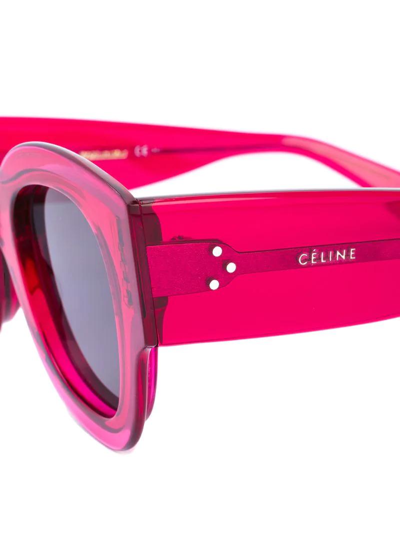 CÉLINE   Розовый и фиолетовый солнцезащитные очки в толстой оправе Celine Eyewear   Clouty