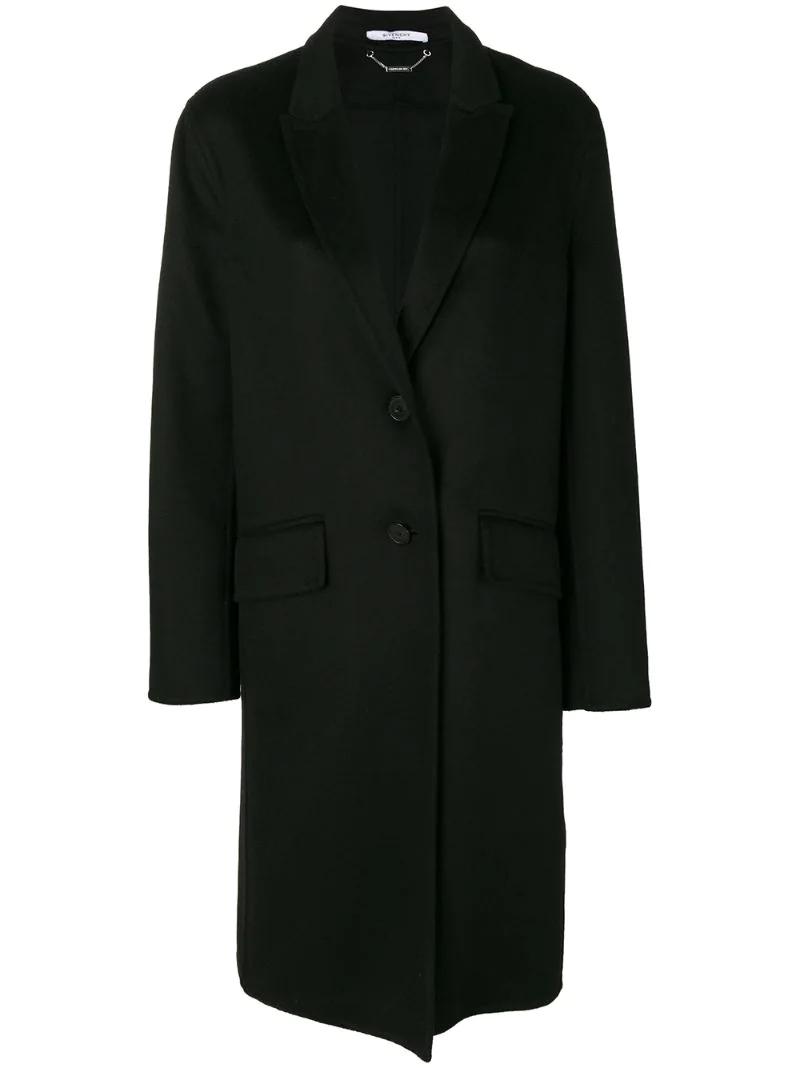GIVENCHY | Чёрный однобортное пальто свободного кроя Givenchy | Clouty