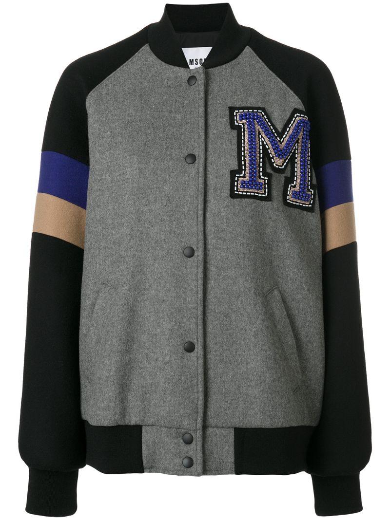 MSGM   Серый университетская куртка-бомбер MSGM   Clouty