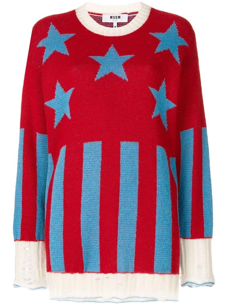 MSGM | Красный свитер с полосками и звездами  MSGM | Clouty