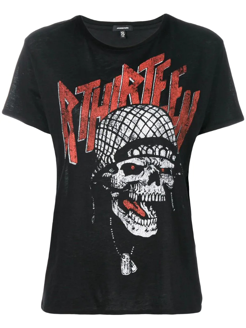 R13   Чёрный футболка с принтом черепа  R13   Clouty