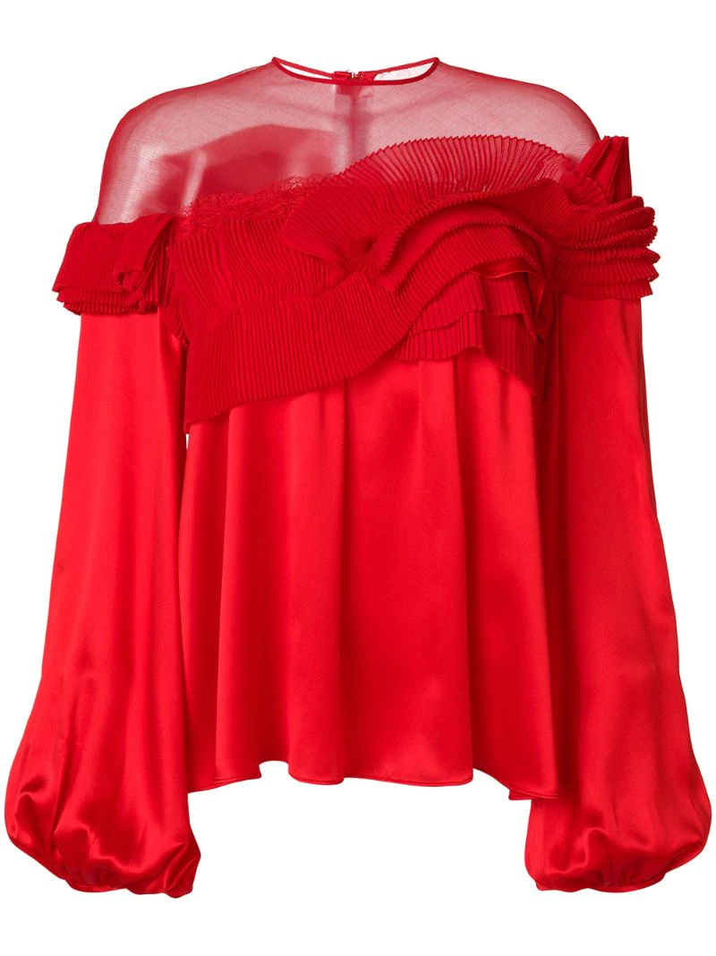 GIVENCHY | Красный расклешенная блузка со складками  Givenchy | Clouty