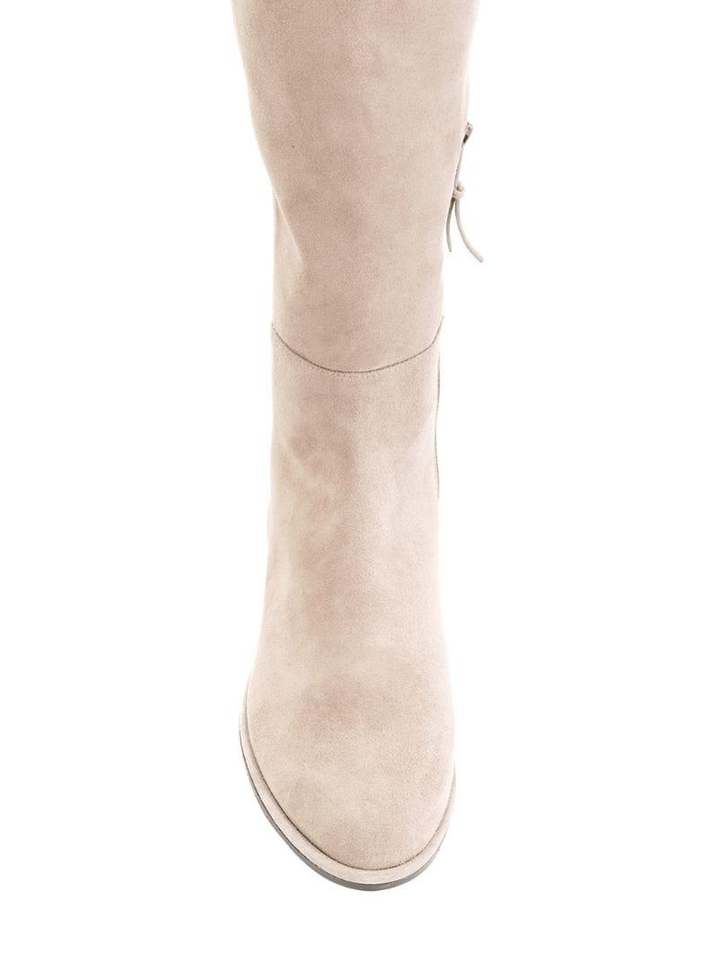 Stuart Weitzman | Телесный замшевые сапоги по колено Stuart Weitzman | Clouty