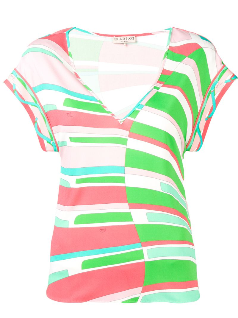 Emilio Pucci | футболка с V-образным вырезом и принтом | Clouty