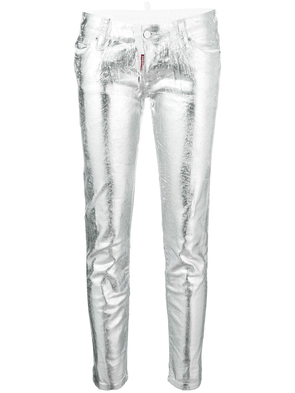 DSQUARED2   джинсы скинни с эффектом металлик   Clouty