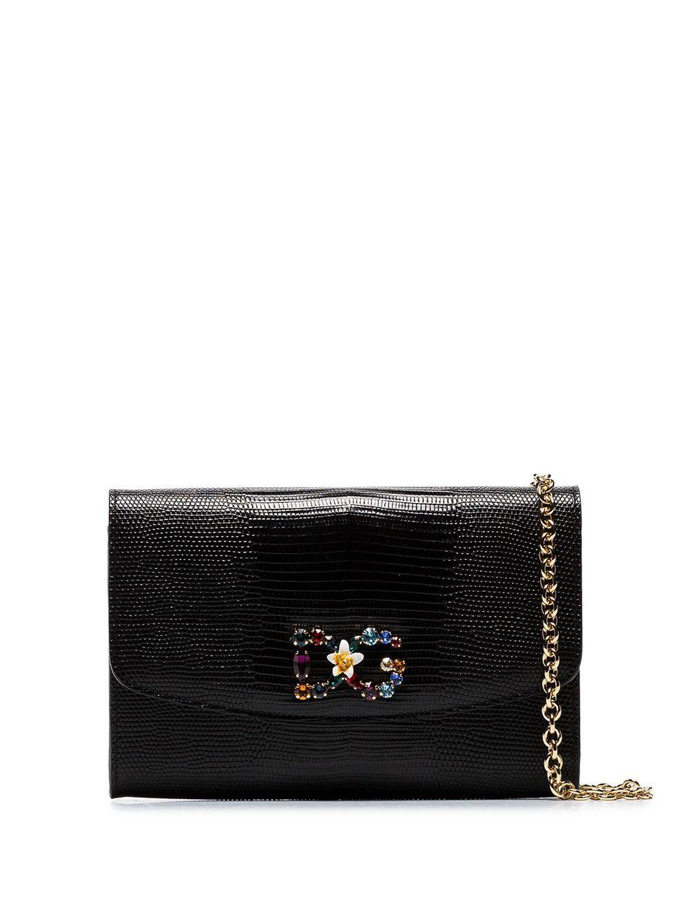 Dolce & Gabbana | сумка через плечо с принтом змеиной кожи и разноцветными кристаллами | Clouty