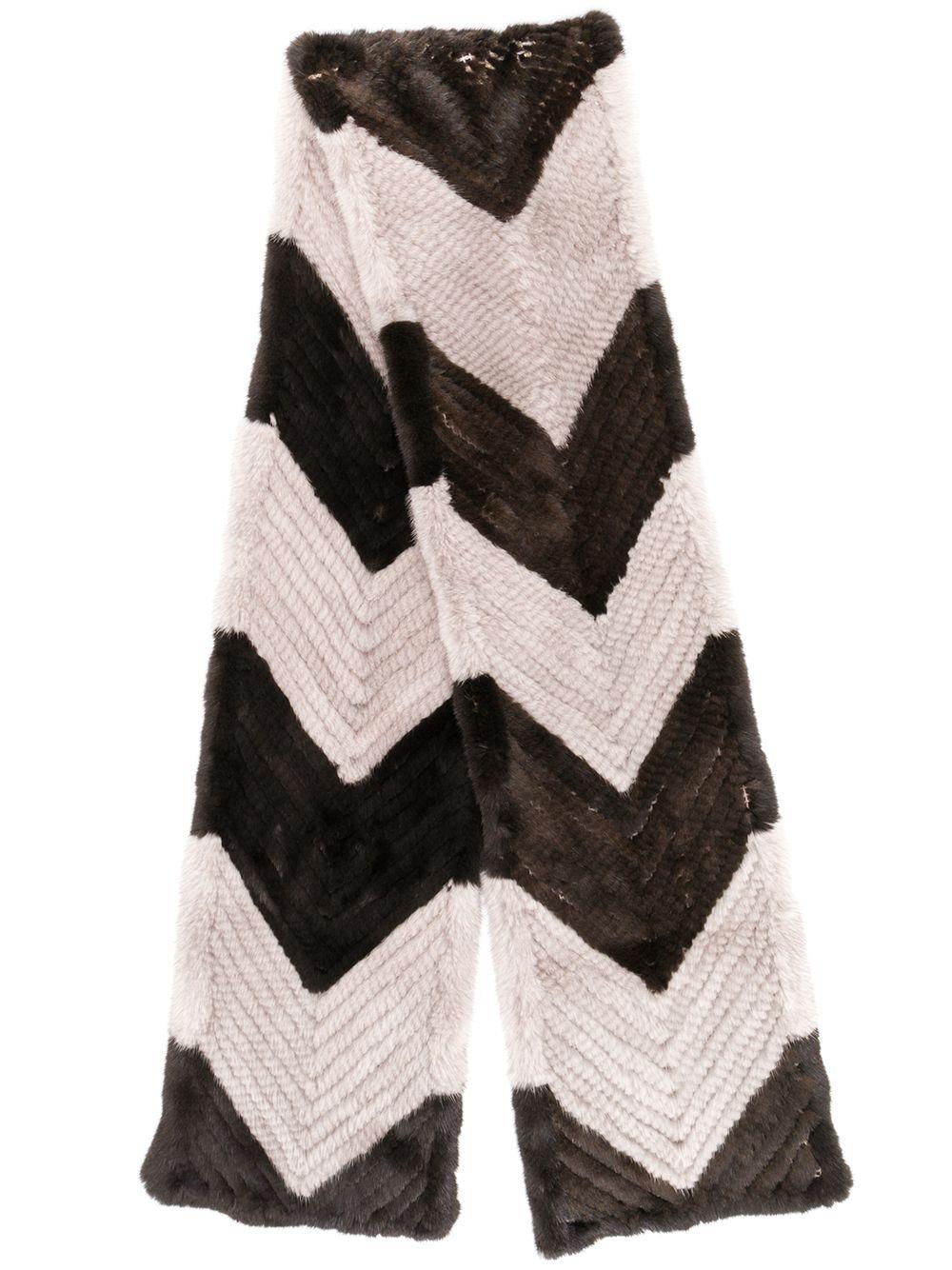 Liska | меховой шарф с геометрическим узором | Clouty